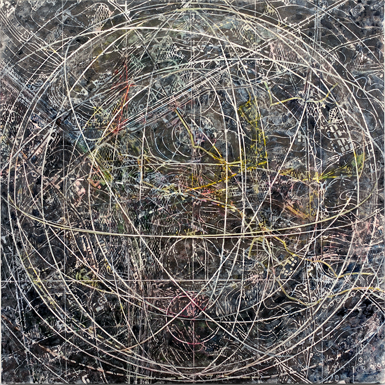 Indeterminate, 2016, mixed media on linen, 54 x 54 inches-mdg